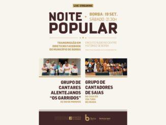 Noite popular no próximo sábado em Borba